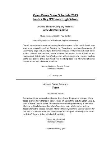 Open Doors Show Schedule 2013 Sandra Day O'Connor High School