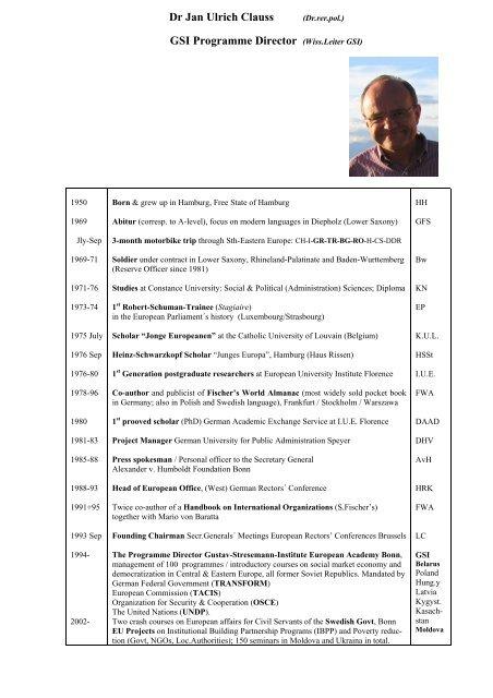 Dr Jan Ulrich Clauss (Dr rer pol ) GSI Programme Director