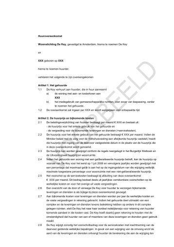 Huurovereenkomst Woonstichting De Key, gevestigd te Amsterdam ...