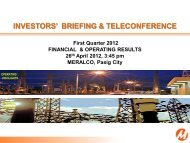 INVESTORS' BRIEFING & TELECONFERENCE - Meralco