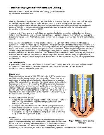Torch Cooling Systems for Plasma Arc Cutting - Centricut