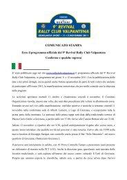COMUNICATO STAMPA - Rally Club Valpantena