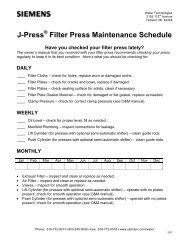 J-Press Filter Press Maintenance Schedule - Siemens