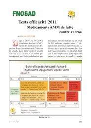 Tests efficacité 2011 : Médicaments AMM de lutte contre varroa