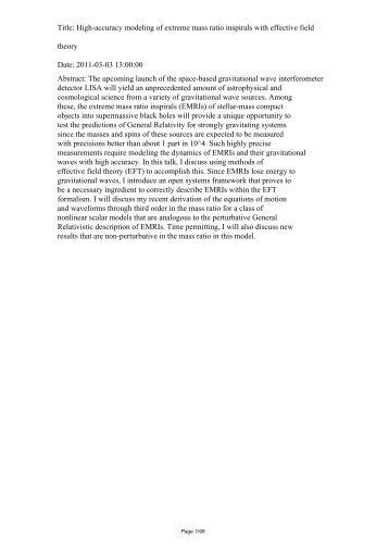 Title: High-accuracy modeling of extreme mass ratio inspirals ... - iucaa