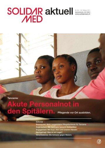 ausgebildete Pflege- fachleute für Tanzania. - SolidarMed