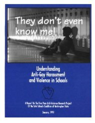 They Don't Even Know Me - Safe Schools Coalition