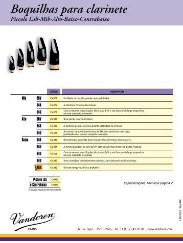 Boquilhas para clarinete Piccolo Lab-Mib-Alto-Baixo ... - vandoren