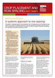 CROP PLACEMENT AND ROW SPACING fact sheet - Grains ...