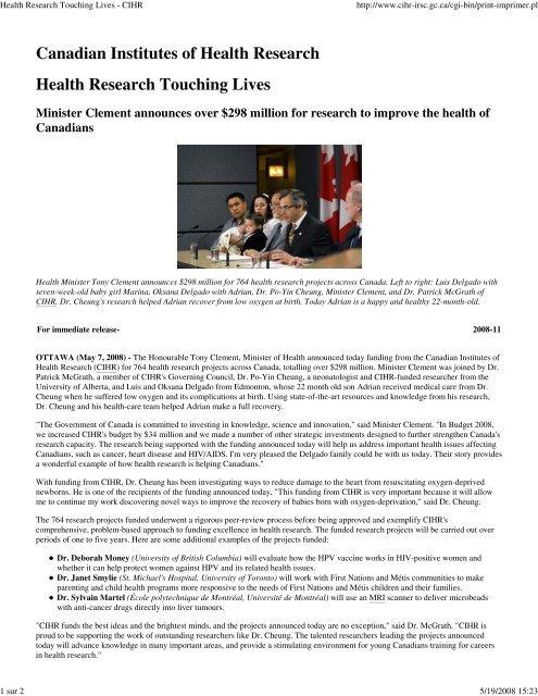 Health Research Touching Lives - École Polytechnique de Montréal