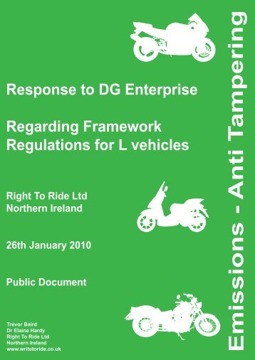 Emissions - Anti T ampering - Right To Ride