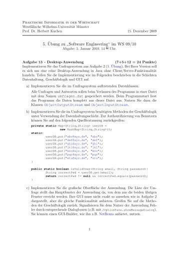 """5. ¨Ubung zu """" Software Engineering"""" im WS 09/10"""