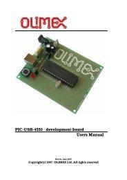 PIC-USB-4550 development board Users Manual - Olimex