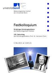 Festkolloquium - Meteorologisches Institut der Universität Bonn