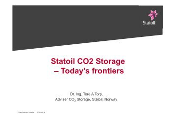 Statoil CO2 Storage – Today's frontiers - CO2Geonet