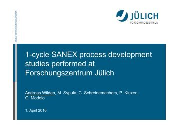 1-cycle SANEX process development studies performed ... - ACSEPT