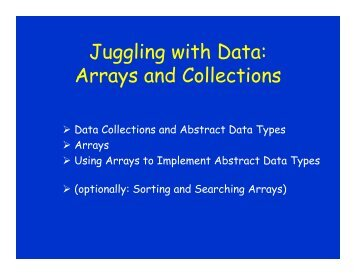 Juggling with Data: Arrays and Collections - schmiedecke.info