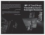SUBSCRIBER HANDBOOK - UCSD Theatre & Dance - UC San Diego