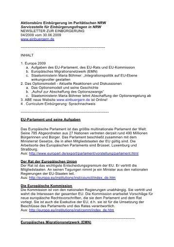 Newsletter 04/2009 - Aktionsbüro Einbürgerung (ABE)