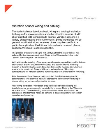 TN 22: Vibration sensor wiring and cabling - Wilcoxon Research
