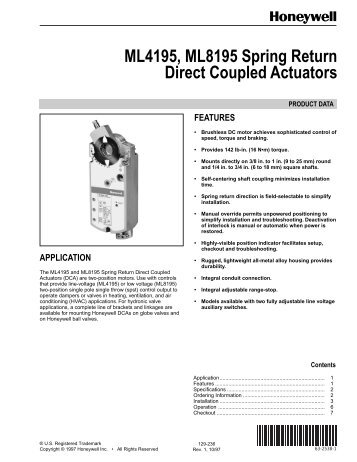 Ml6195 Honeywell Direct Coupled Actuator Spring Return Kele. Ml4195 Ml8195 Spring Return Direct Coupled Actuators Kele. Wiring. Honeywell Direct Coupled Actuator Wiring Diagram At Scoala.co
