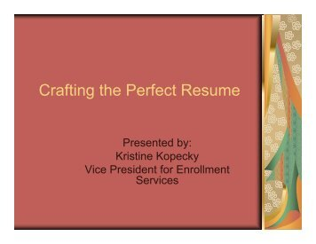 Crafting the Perfect Resume (PDF) - Our Lady of Holy Cross College