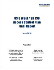 US 6 West / SH 139 Access Control Plan Final Report - City of Fruita