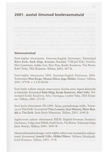 2001. aastal ilmunud keeleraamatuid Sõnaraamatud - Emakeele Selts