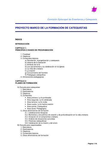 proyecto marco de la formación de catequistas - Parroquia ...