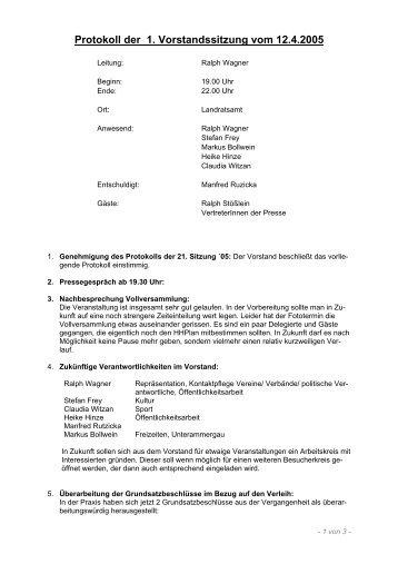 Protokoll der 1. Vorstandssitzung vom 12.4.2005