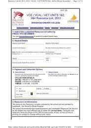 VCE / VCAL / VET UNITS 1&2, 3&4 Resource List, 2012 - Drouin ...