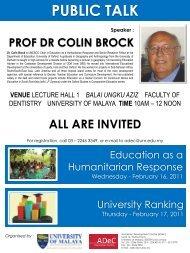 Talks by Prof Dr Colin Brock - Event - University of Malaya