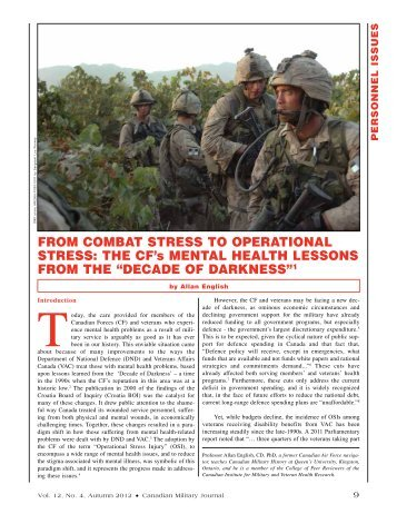 FROM COMbAT STRESS TO OpERATiONAl STRESS: ThE CF's ...