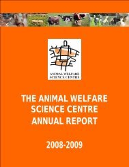 the animal welfare science centre annual report 2008-2009