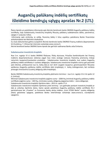 Augančių palūkanų indėlių sertifikatų išleidimo bendrųjų ... - Snoras