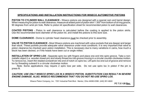 Specification and installation instructions - Wiseco