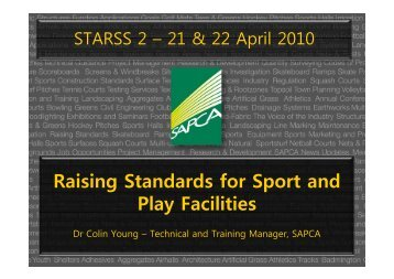 Raising Standards for Sport and Play Facilities - Sportsurf