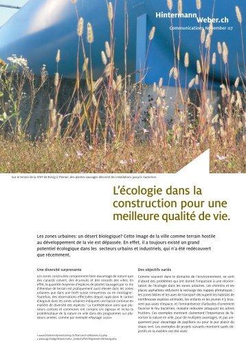L'écologie dans la construction pour une meilleure qualité de vie.