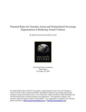 Potential Roles for Nonstate Actors and ... - One Earth Future