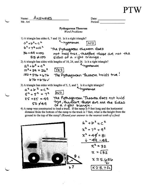 Pythagorean Theorem - Word Problems - Worksheet - PTW