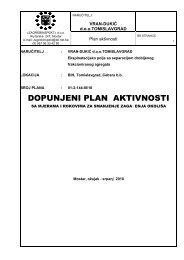 Plan aktivnosti - Vran Dukic d.o.o. Tomislavgrad - Federalno ...