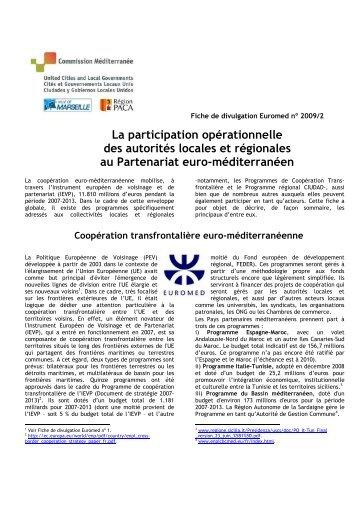 Fiche de divulgation Euromed 2009/2 - Commission Méditerranée ...