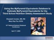 Using the MyPyramid Equivalents Database to Estimate MyPyramid ...