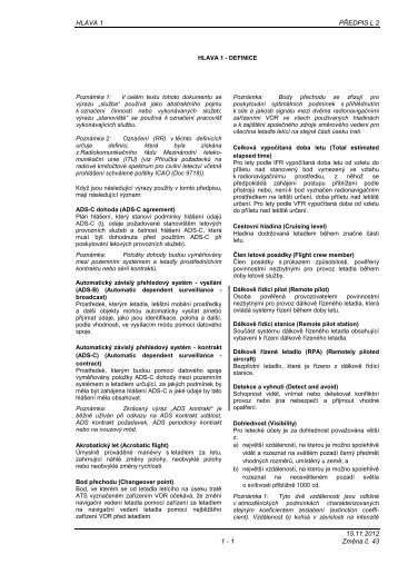 Hlava 1 - Letecká informační služba - Řízení letového provozu
