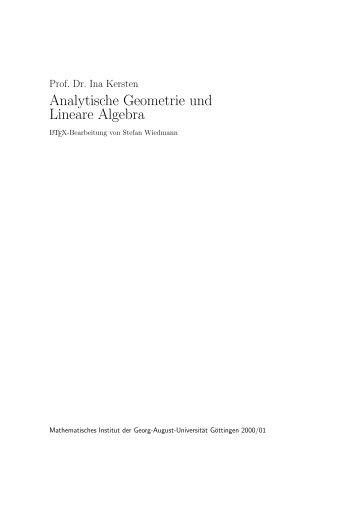 Analytische Geometrie und Lineare Algebra - Mathematisches Institut
