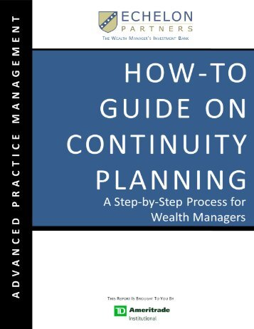 How to Guide on Continuity Planning - TD Ameritrade Institutional