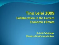 Dr Colin Tukuitonga Ministry of Pacific Island Affairs