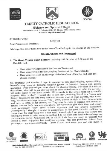 Letter E - Trinity Catholic High School - Uk.net