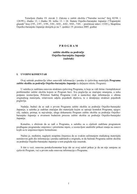 Program zaštite okoliša za područje Osječko-baranjske županije