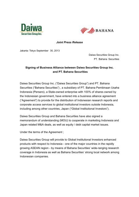 Joint Press Release Signing Of Business Alliance Japan Portal